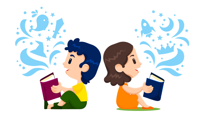 boy and girl reading math puzzle book